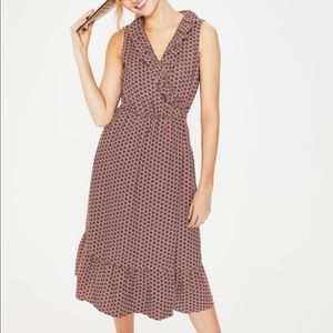Boden Nancy Linen Ruffle Wrap Dress